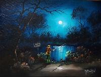 MAL.BURTON ORIGINAL ART OIL PAINTING.  THE POACHER -- FISHING