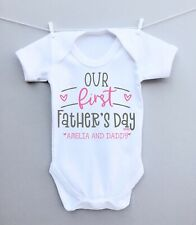 Personalised baby bodysuit vest babygrow! our 1st fathers day heart daddy gift