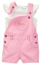 JUICY COUTURE BABY GIRL LACE SHORTALL & DOTS FOIL PRINT TOP SET. SZ 24M