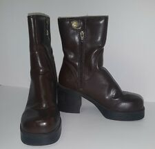 "Brown Platform Mid Calf Boots 6M Skechers Chunky 3"" Heel Punk Gothic Light Wear"
