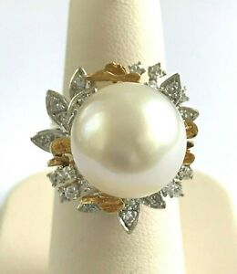 13.7 mm South Sea Pearl and Diamond 18k Yellow Gold Ring