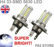 2x H4 33-smd Lampadine a LED Super Luminosi Bianchi Nebbia Drl Marcia Diurna Luce Lampada UK