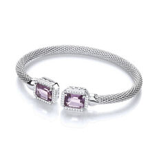 J JAZ Malin Amethyst Emerald Cut Sterling Silver Mesh Bracelet Bangle