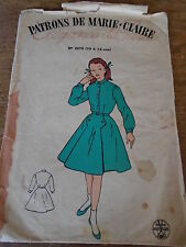 """ANCIEN PATRON""""MARIE CLAIRE  """"ROBE A PLIS COUCHES  1950 TAILLE 10 A 12 ANS"""