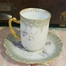 Antique Coiffe Limoges Demitasse Cup Saucer Mark 3 1891 to 1914
