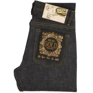 Naked and Famous Real Gold Selvedge Japanese Denim Jeans Weird Guy 32