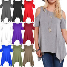 WOMENS COLD SHOULDER CUT HANKY TOP LADIES OVERSIZED HEM SWING PLUS SIZE FLARED