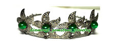 60.05 ROSE CUT DIAMOND ONYX ANTIQUE LOOK WEDDING SILVER HAIR JEWELRY TIARA-CROWN