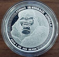 2018 Congo Silverback Gorilla .999 1 .oz silver Scottsdale 5000 Francs