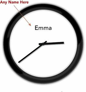 Minimalist Modern PERSONALIZED Wall Clock BLACK - Bedroom Office Home Decor GIFT
