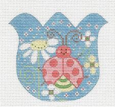 *NEW* Tulip with Flowers & a Ladybug handpainted Needlepoint Canvas from Danji
