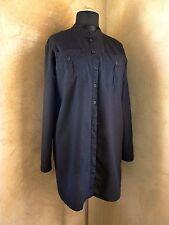 Camisa Para Mujer Mezcla De Lino Monki Vestido M 10 12 Túnica Larga Top Negro Suelto Grunge