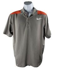 Nike FITDRY Polo Golf Shirt M Gray Orange Short-Sleeve Performance
