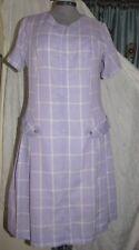 Classic 60's Lilac White Plaid Cotton Dress drop waist side pleats Front Zip Lg