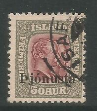 Iceland 1936 2 Kings 50a gray & violet Official--Attractive Topical (O69) used
