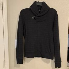 Ralph Lauren Black Label Charcoal Gray Stripe Shawl Collar Sweatshirt Sweater S