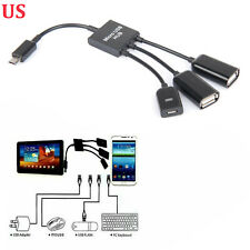 3 in 1 Micro USB OTG Charger Cable Extension Hub Adapter Android Samsung Tablet