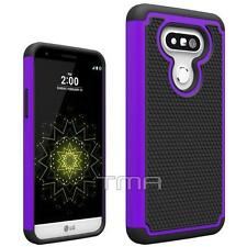 LG G5 Heavy Duty Rubber Dual Layer Impact Shockproof Hybrid Case Cover - Purple