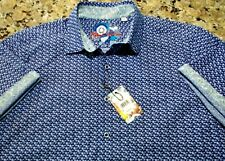 Robert Graham Men's 2xl xxl Blue White Shirt Button Up Flip Cuff S/S NWT 8102099