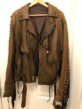 *ONE OFF* CUSTOM BROWN LEATHER FRINGE JACKET NAVAJO HIGH DESERT L/XL