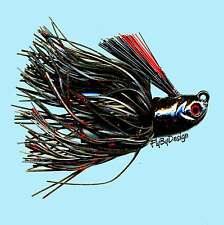 NEW Stanley BloodSpot Black / Red Rattler Flat Eye Glitter Head Jig