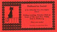 ANTIQUE HALLOWEEN INVITATION BLACK CAT PUMPKINS OLANTERN KOKOMO IN STAMP 1928