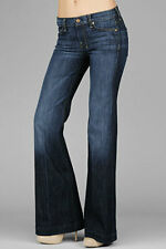 7 for all Mankind FLARES Jeans W25 L33.5 UK 6-8 DOJO BLUE Denim Size XS Flare