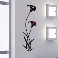 Morning Glory Mirror Wall Sticker Self-adhesive Flower Decal Home Room DIY Decor