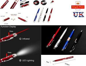 New 3 in 1 Aluminium LED Torch Laser Light Writing Pen -  BATTERY INCLUDED