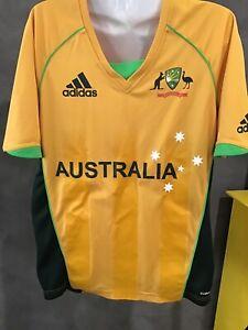 🏏  Adidas Cricket Australia Shirt Team Player Issue Small Aussie Gold Top 🇦🇺