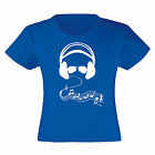 Art T-shirt, Maglietta Cuffie e Occhiali, Bambina Child Girl, Blu