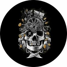 Pirate Skull Jeep Wrangler Liberty RV Trailer Camper Spare Tire Cover