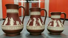 More details for 3 antique wedgwood tri crimson red puce white jasperware pitcher & jugs trio