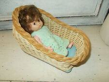 Vintage 1960s doll in hand made bed cot good condition