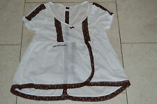 Odd Molly Femme S/S Chemisier Tunique Shirt Top Blanc/Chemise Marron Taille 2 UK 12 14