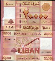 LEBANON 20,000 20000 LIVRES  2012 P 93 NEW REPLACEMENT SERIES 99 UNC
