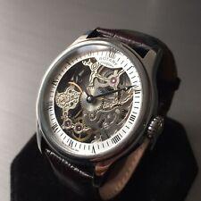 Mens Rotary Watch GS02521/06 Vintage Steel skeleton Manual Leather Genuine