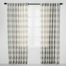 "Threshold 2 Plaid Window Curtains Panels White Gray 84""x54"" Light Filtering NEW"