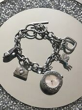 Lovely Lightly Used Silver Tone Charm Bracelet With Watch