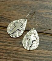 Hammered Silverplate Silver Aurora Borealis Crystal Cross Faith BOHO Earrings