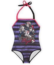 MONSTER High Striped HALTER Bathing Swim Suit Girls 10/12 NEW One Piece Swimsuit