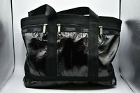 LeSportsac Nylon Coated Black Purse Shoulder Bag Large Travel Tote Rare Pouch