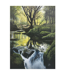 """Waterfall Oil Painting Golitha Falls Original Oil on Canvas 16.5"""" x 11.5"""""""
