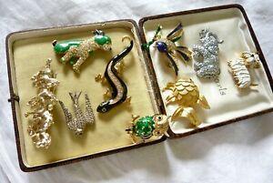 VINTAGE JEWELLERY MIXED JOB LOT OF ANIMAL KINGDOM BROOCHES PINS