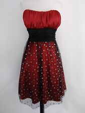 BLONDIE NITES 7 red satin strapless formal dress tie back glitter accent EUC