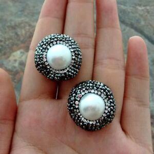 White Pearl Black Crystal Pave Stud Earrings