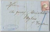 Firmen-Brief von Hamburg nach Mylau mit Deutschen Reich Nr. 19 Brustschild