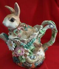 Fitz & Floyd Woodland Spring Tea Pot - Bunnies, Flowers