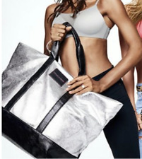 New! Victorias Secret 2017 Limited Edition XL Weekender Tote Bag Metallic Silver