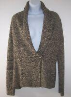 LRL Ralph Lauren Jeans Co Cardigan Sweater Women S Black/Tan Cozy Wrap w Toggle